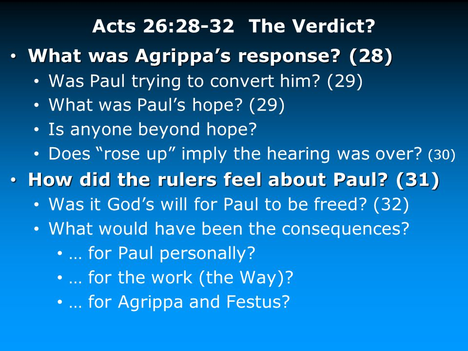 What was Agrippa's response (28)