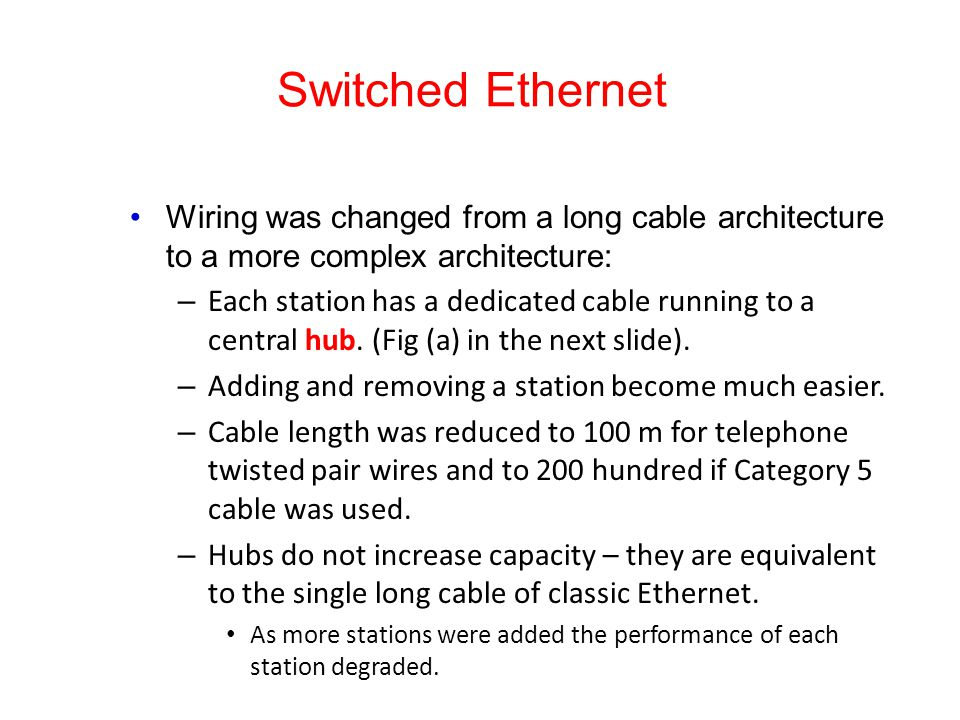 Switched Ethernet Wiring was changed from a long cable architecture to a more complex architecture: