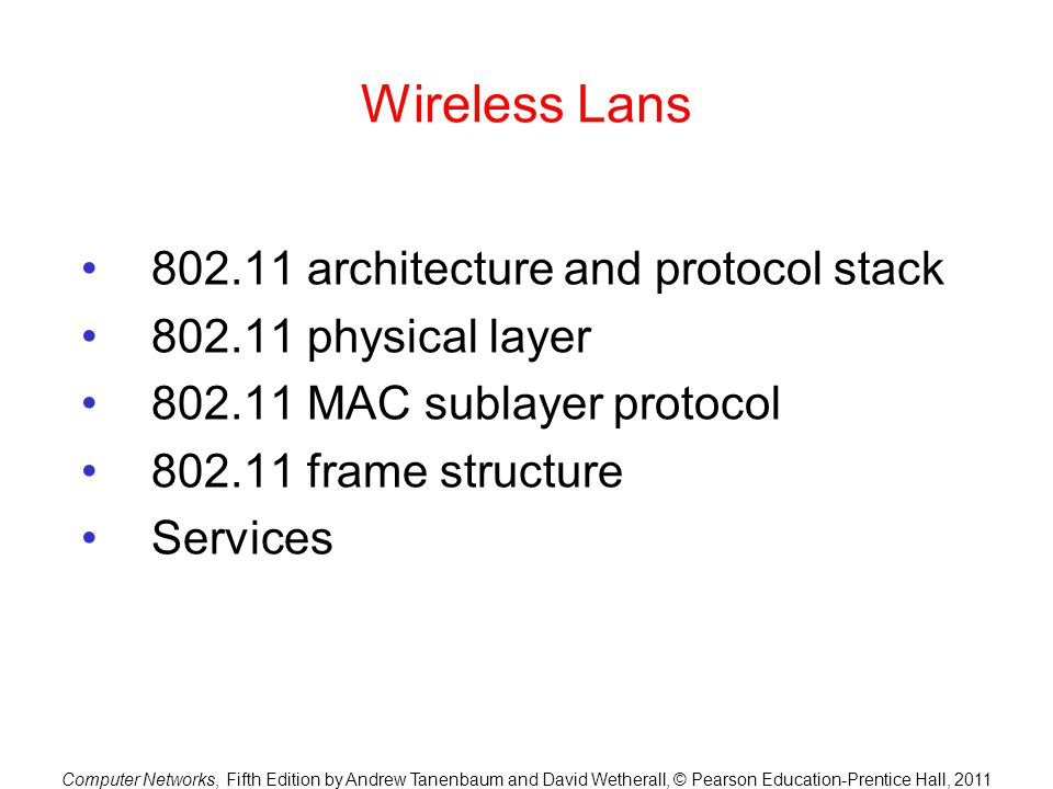 Wireless Lans 802.11 architecture and protocol stack