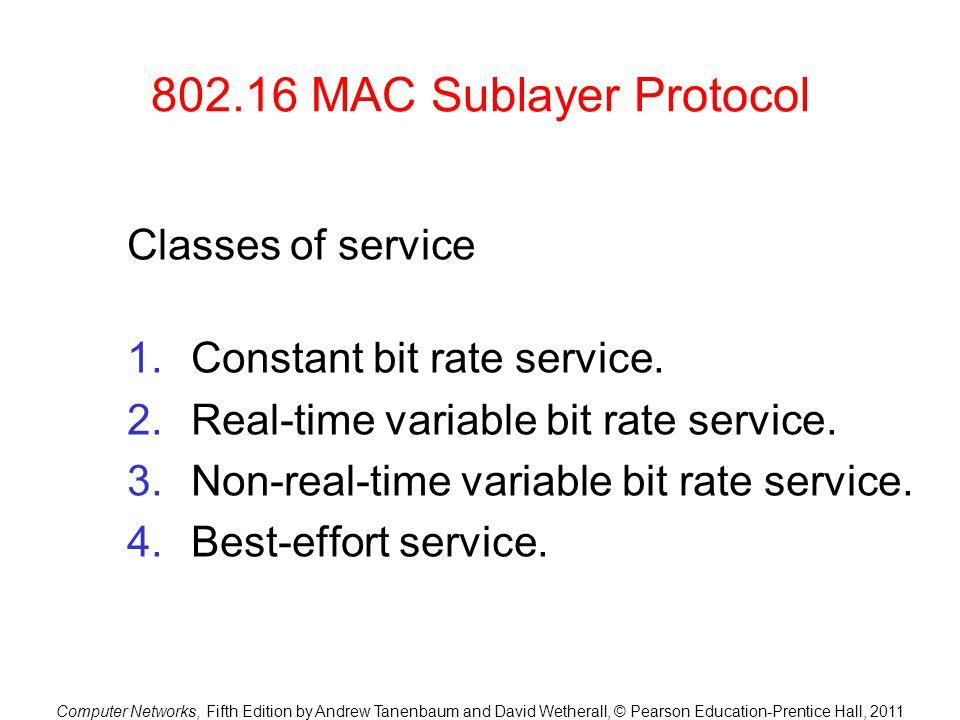 802.16 MAC Sublayer Protocol Classes of service