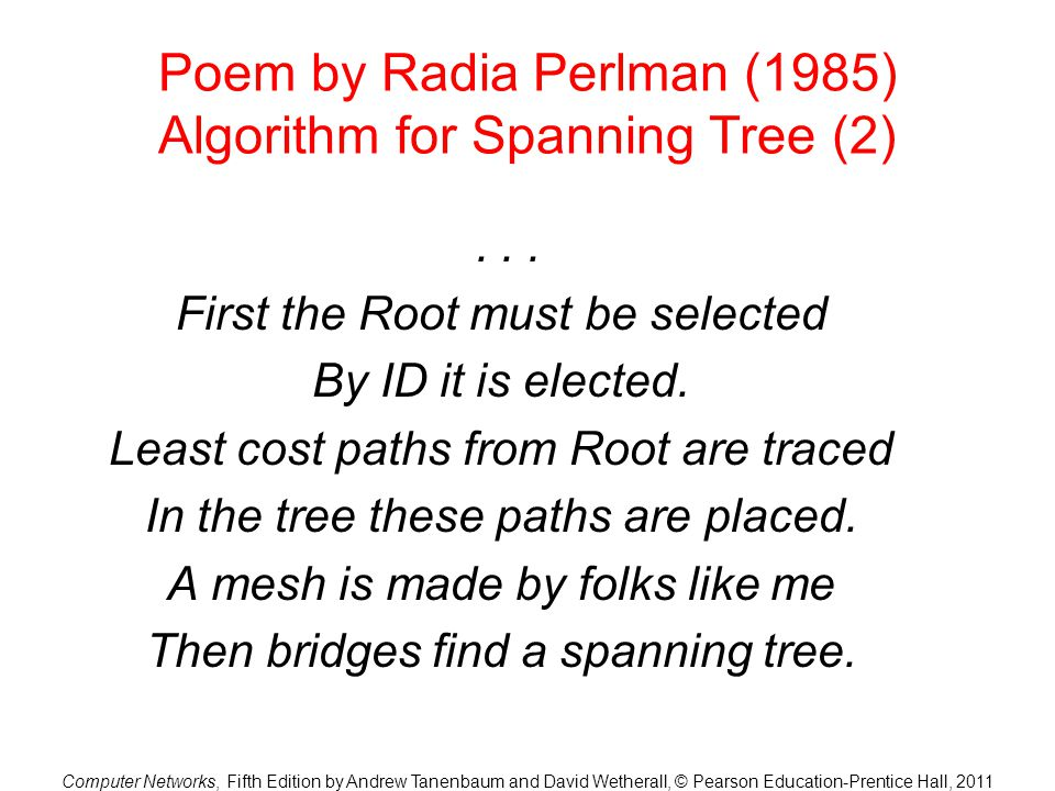 Poem by Radia Perlman (1985) Algorithm for Spanning Tree (2)