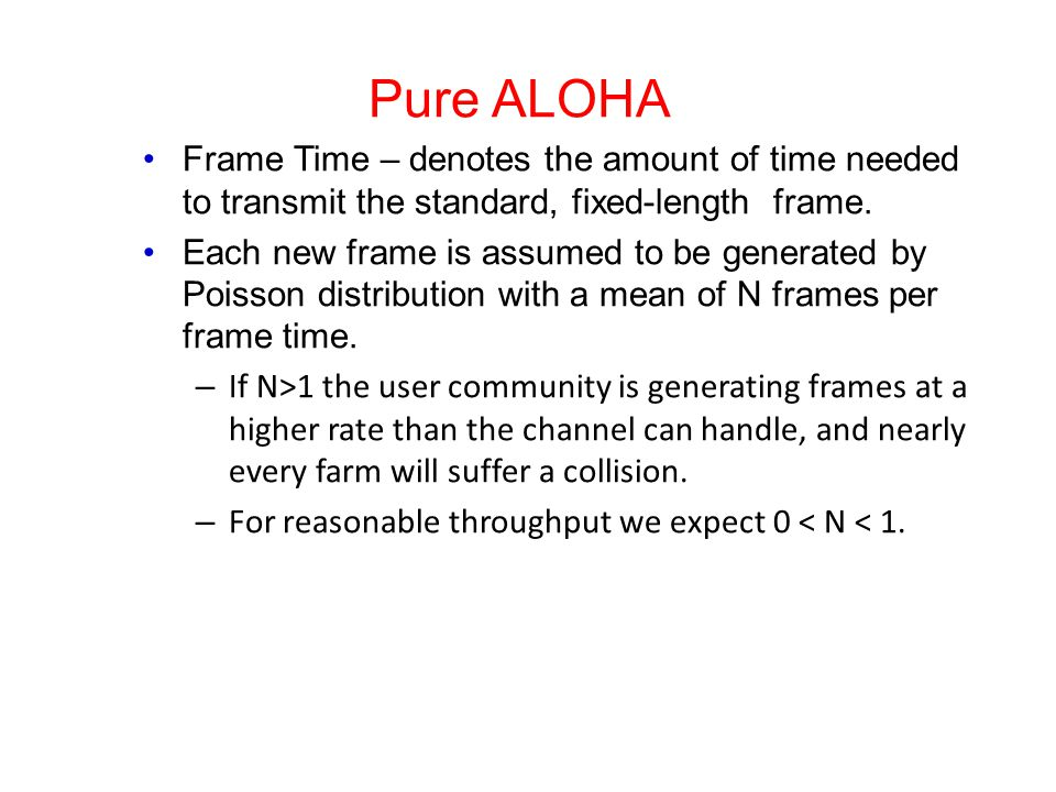 Pure ALOHA Frame Time – denotes the amount of time needed to transmit the standard, fixed-length frame.