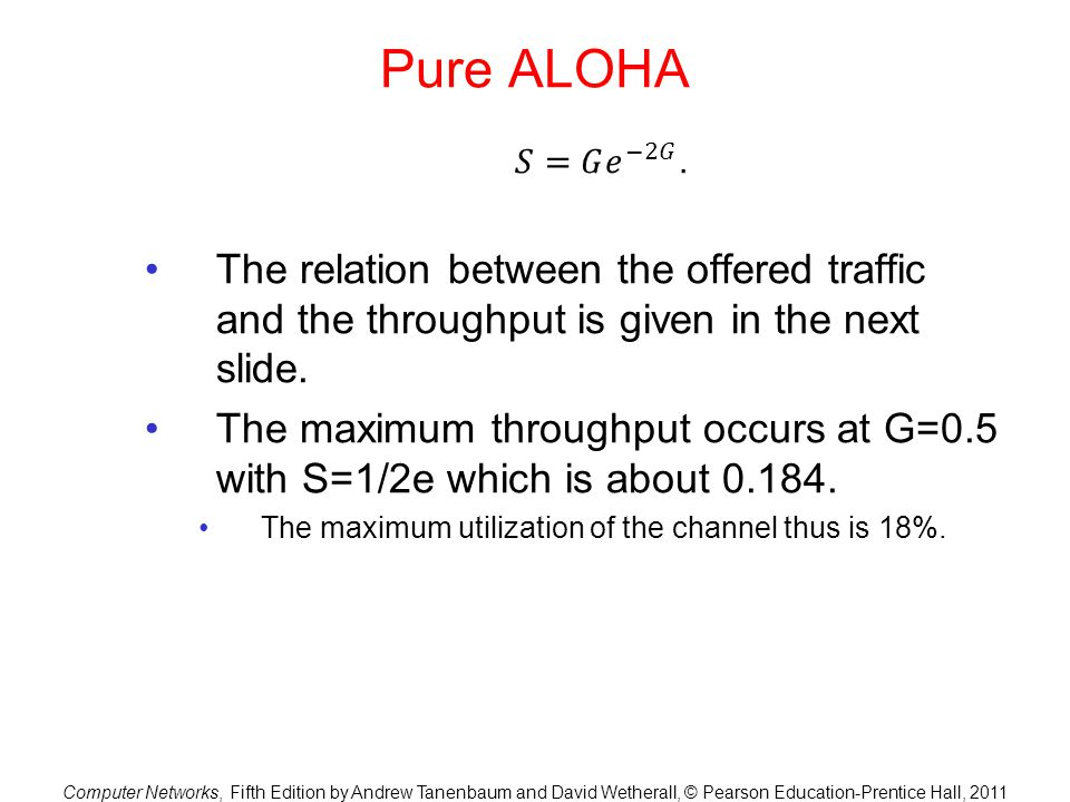 Pure ALOHA 𝑆=𝐺 𝑒 −2𝐺 . The relation between the offered traffic and the throughput is given in the next slide.