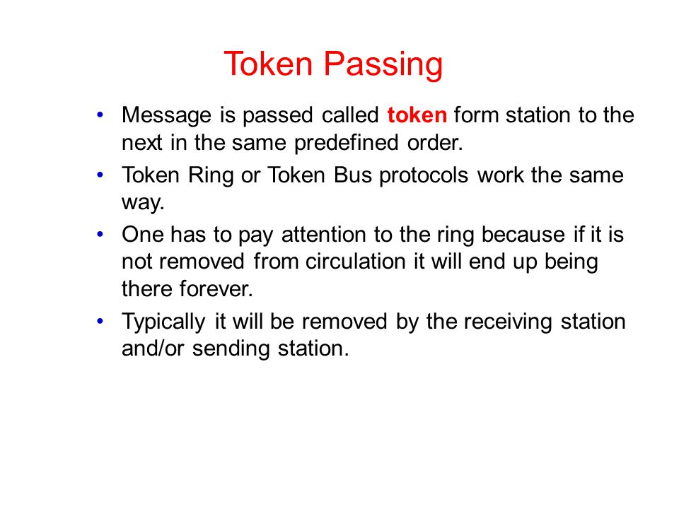Token Passing Message is passed called token form station to the next in the same predefined order.