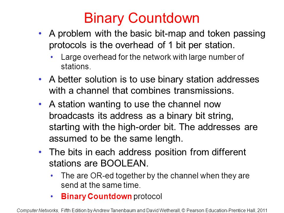 Binary Countdown A problem with the basic bit-map and token passing protocols is the overhead of 1 bit per station.