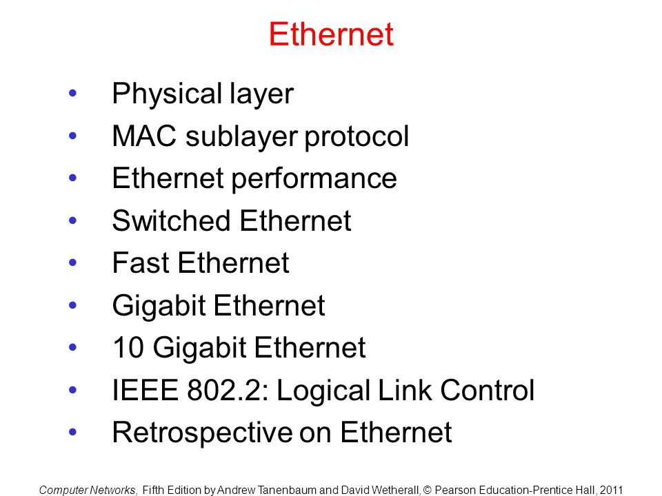 Ethernet Physical layer MAC sublayer protocol Ethernet performance