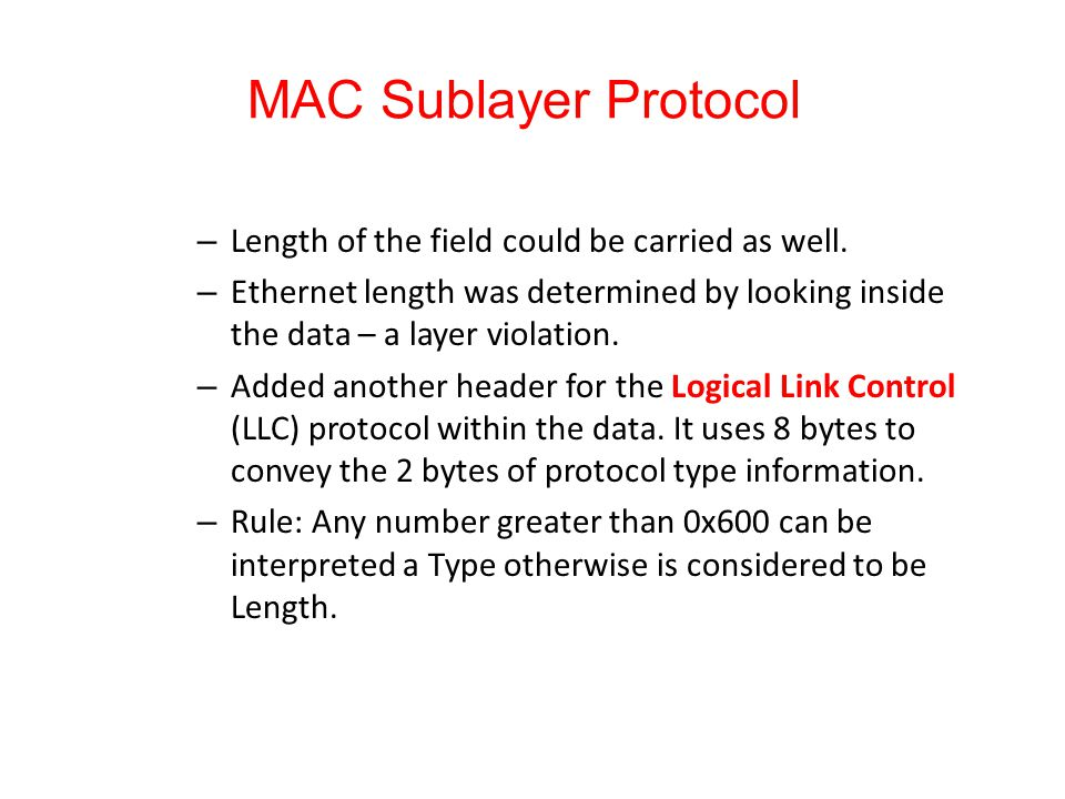 MAC Sublayer Protocol Length of the field could be carried as well.