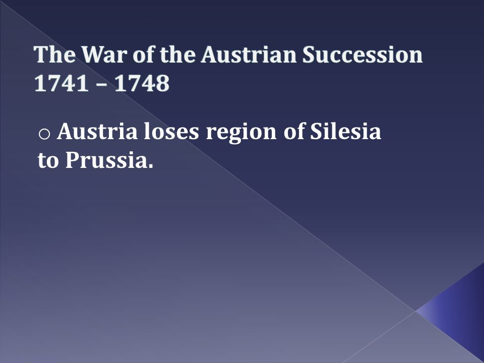 The War of the Austrian Succession 1741 – 1748