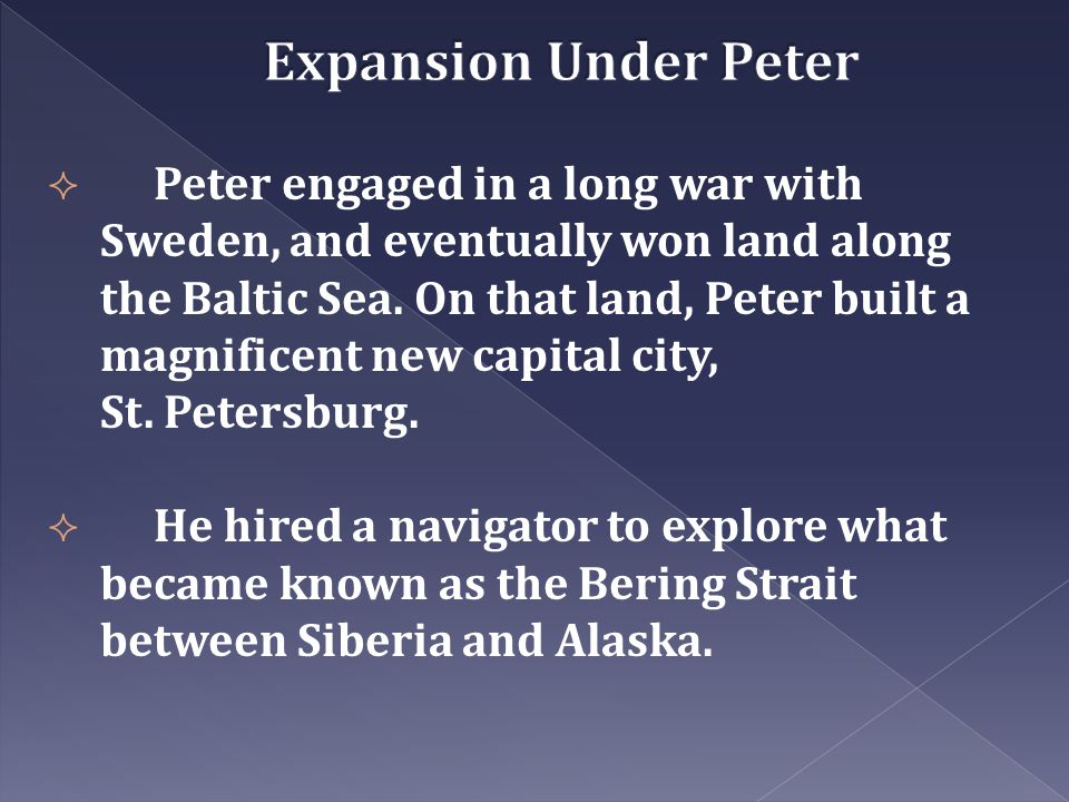 Expansion Under Peter