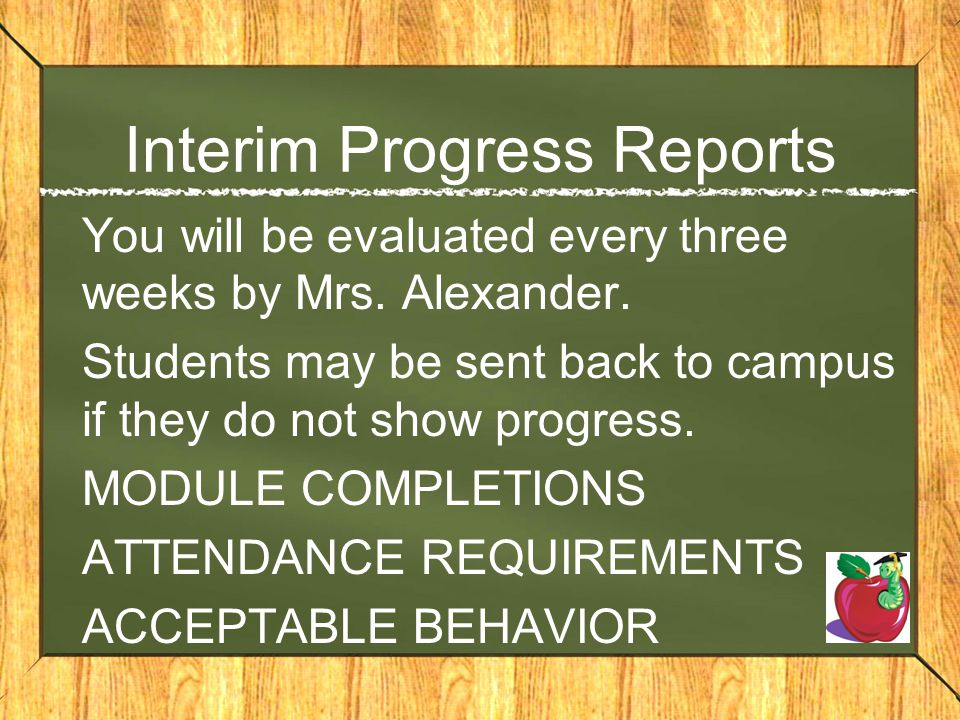 Interim Progress Reports