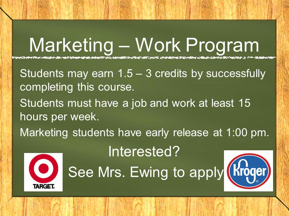 Marketing – Work Program
