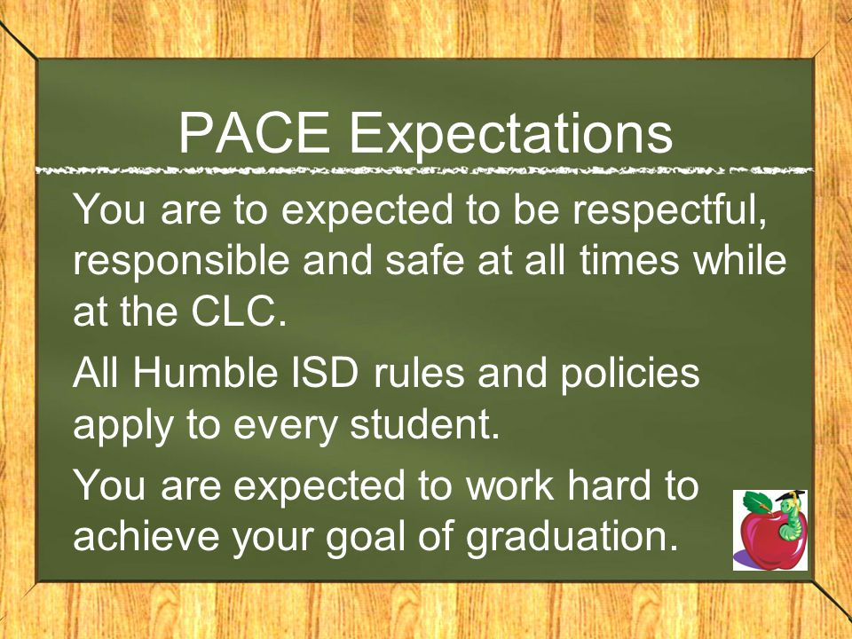 PACE Expectations You are to expected to be respectful, responsible and safe at all times while at the CLC.