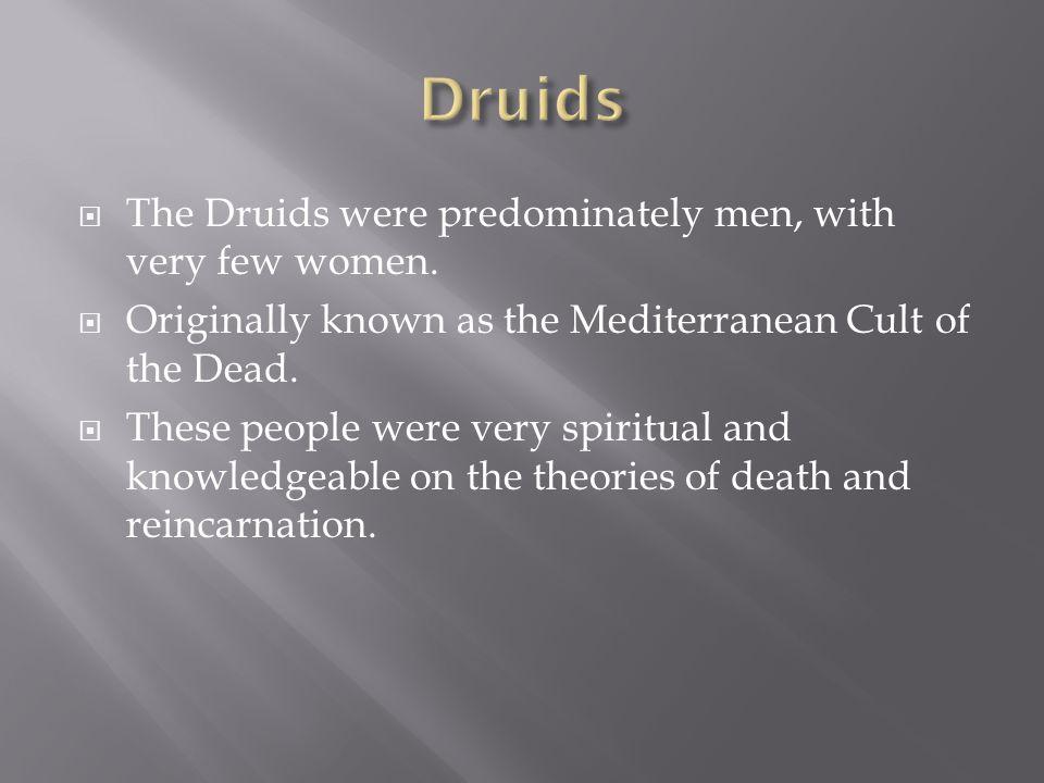 Druids The Druids were predominately men, with very few women.