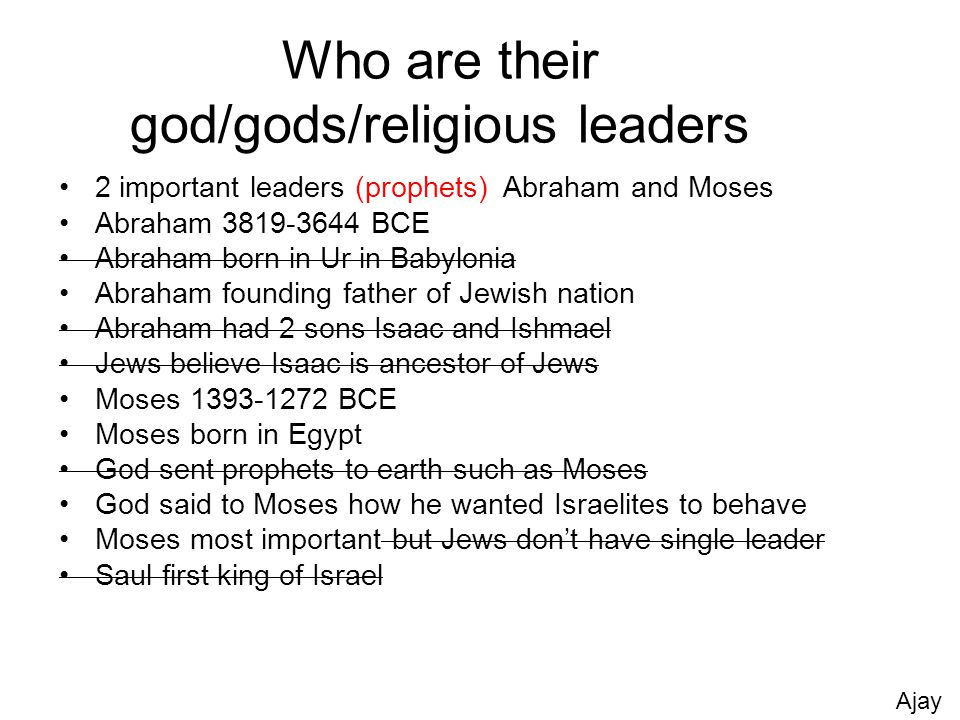 Who are their god/gods/religious leaders