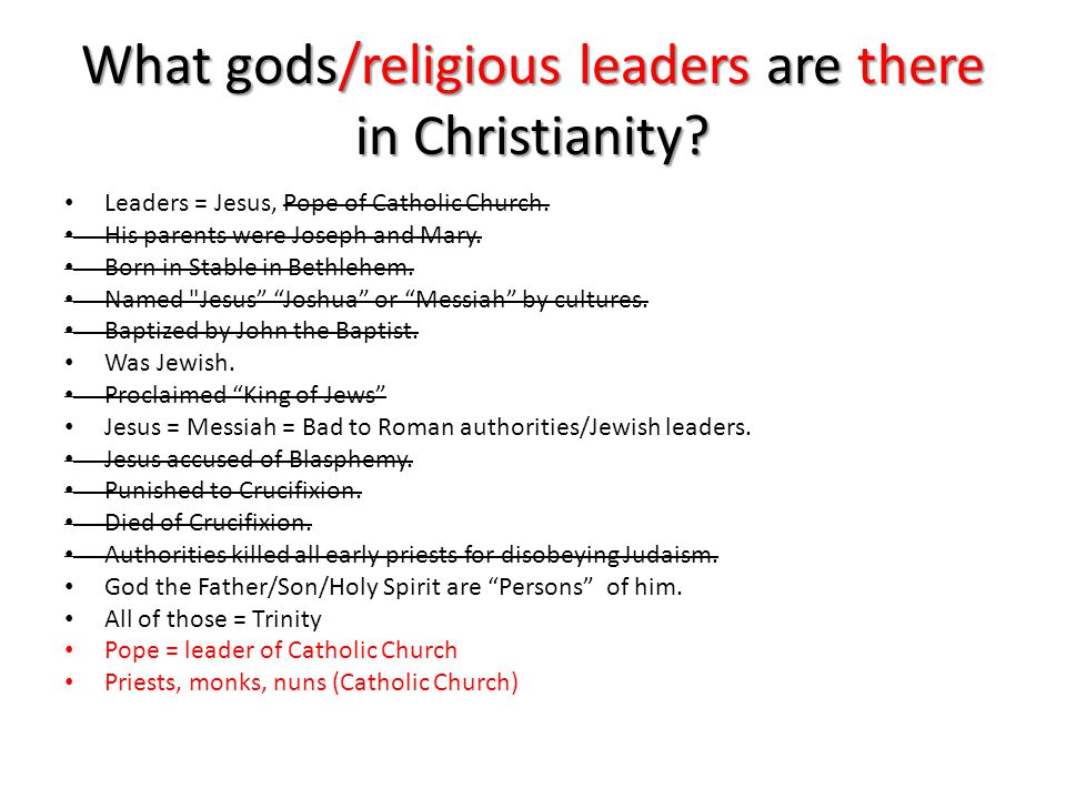 What gods/religious leaders are there in Christianity