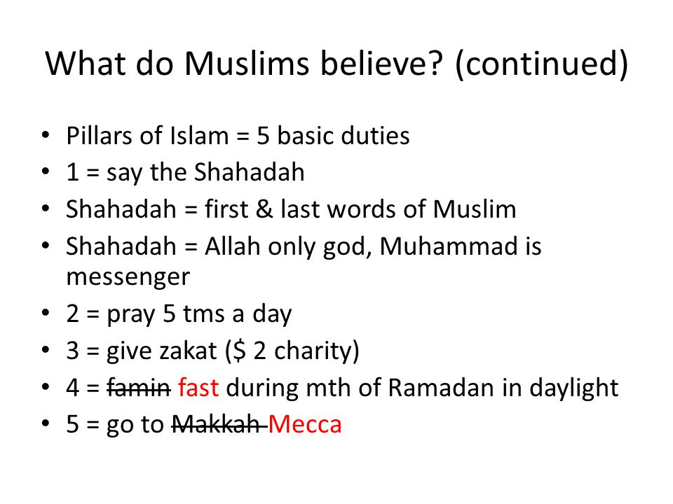 What do Muslims believe (continued)