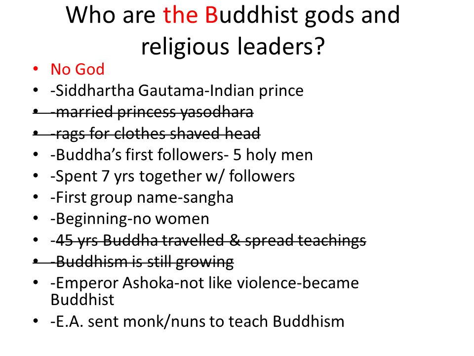 Who are the Buddhist gods and religious leaders