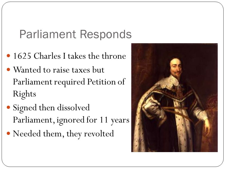 Parliament Responds 1625 Charles I takes the throne