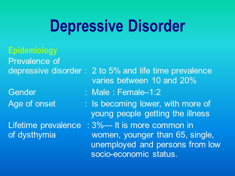 Depressive Disorder Epidemiology Prevalence of