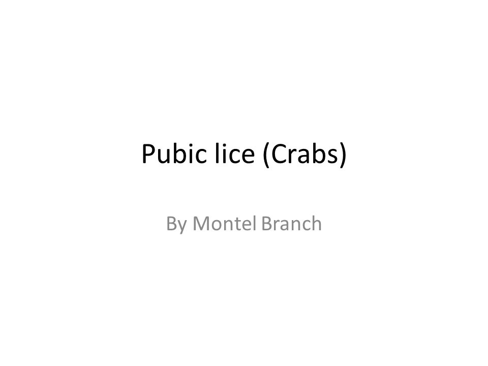 Pubic lice (Crabs) By Montel Branch