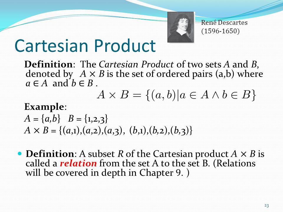 René Descartes ( ) Cartesian Product.