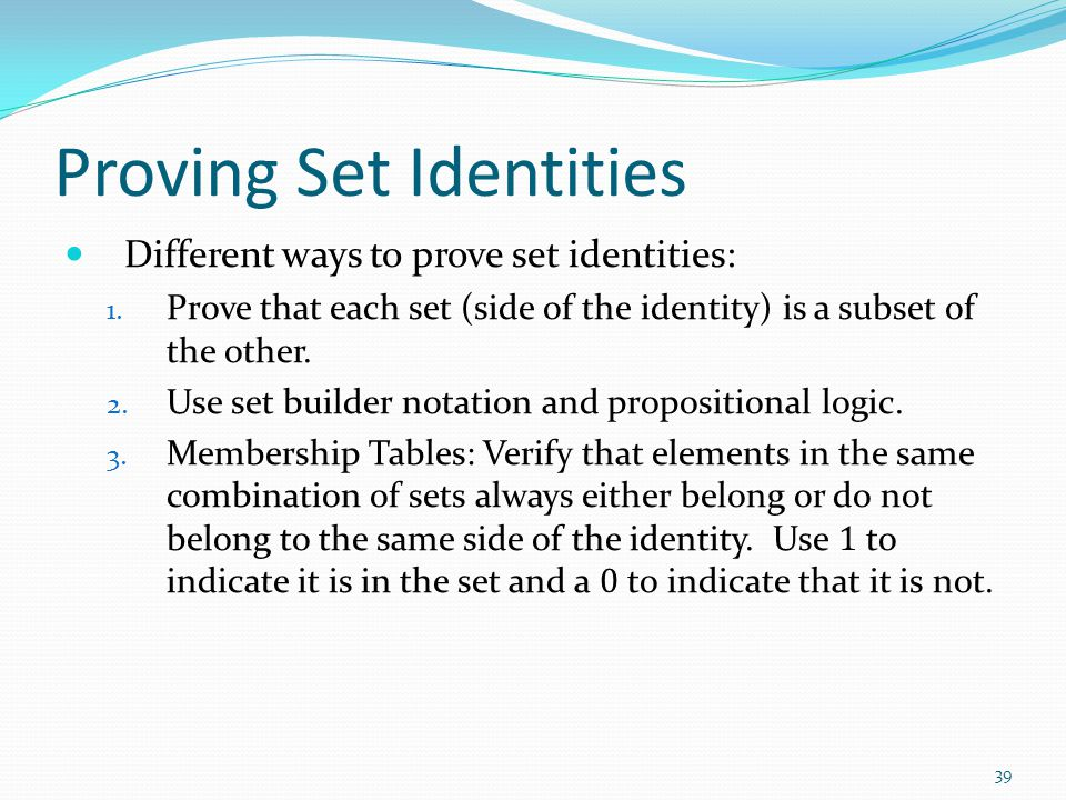 Proving Set Identities