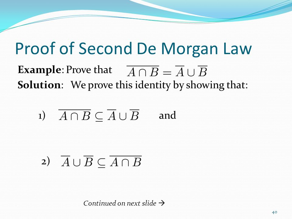 Proof of Second De Morgan Law