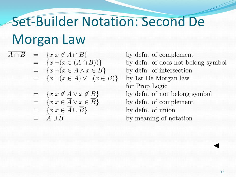 Set-Builder Notation: Second De Morgan Law