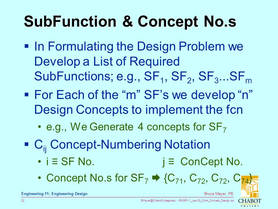 SubFunction & Concept No.s