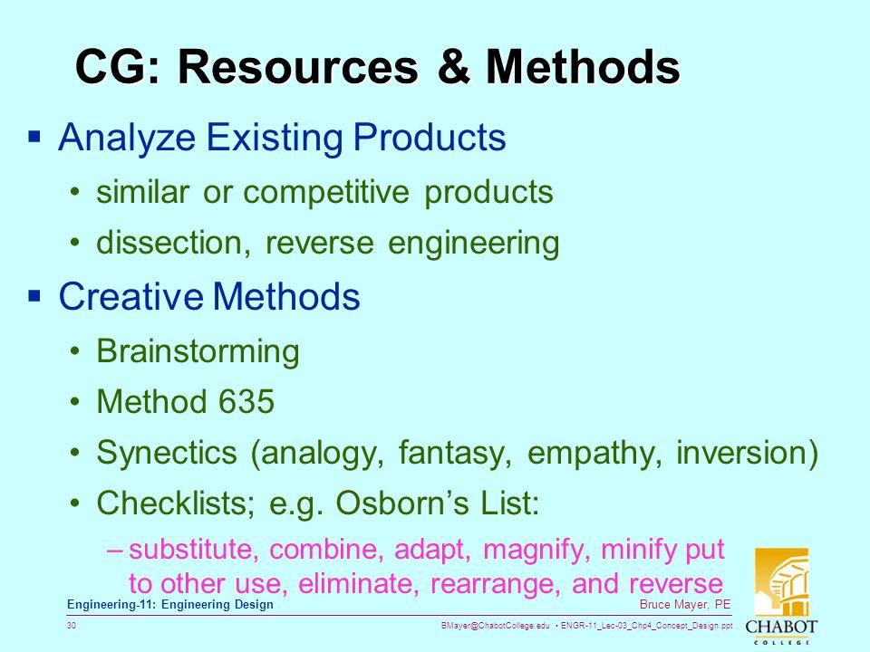 CG: Resources & Methods