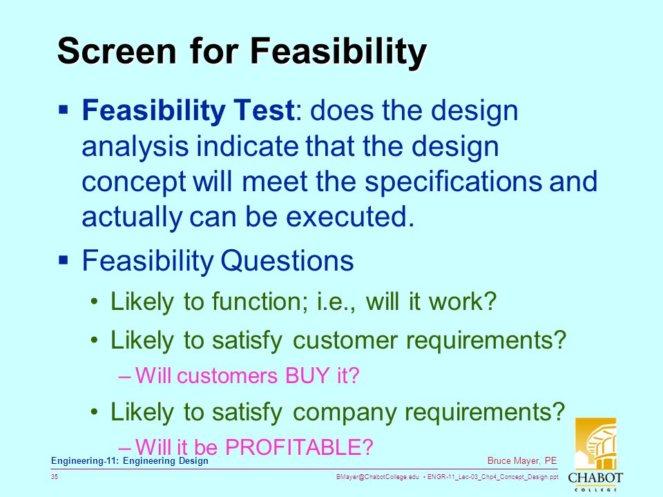 Screen for Feasibility