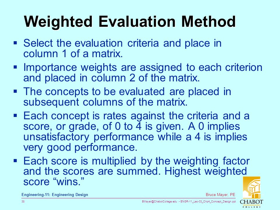 Weighted Evaluation Method