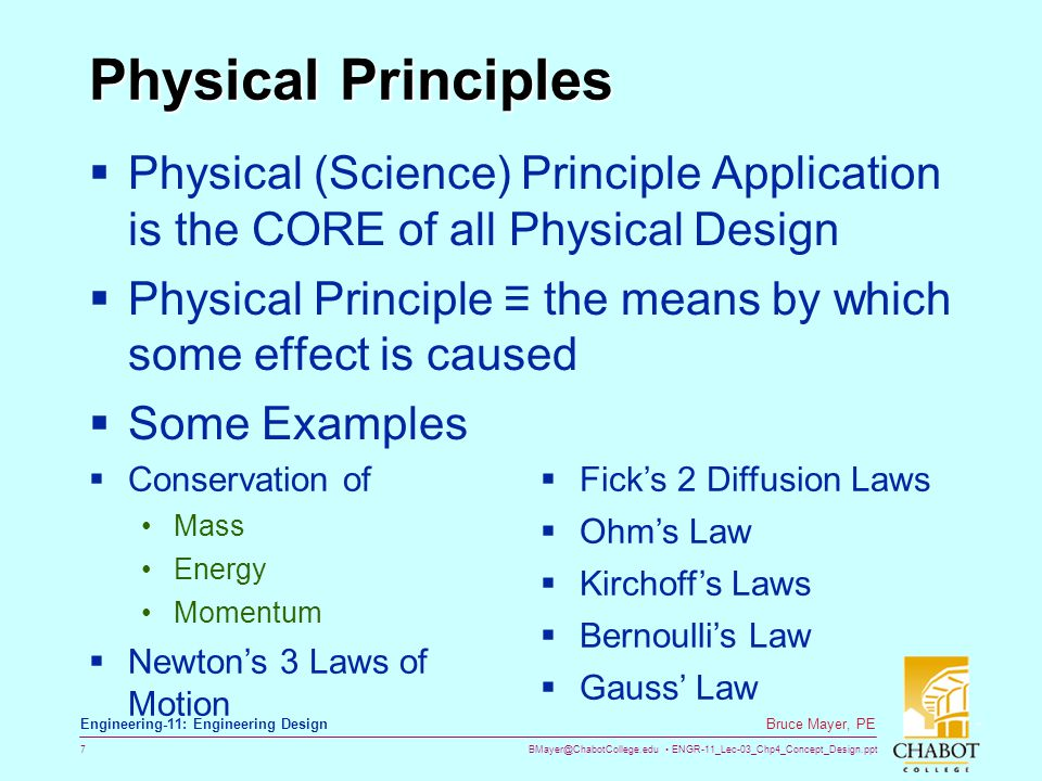Physical Principles Physical (Science) Principle Application is the CORE of all Physical Design.
