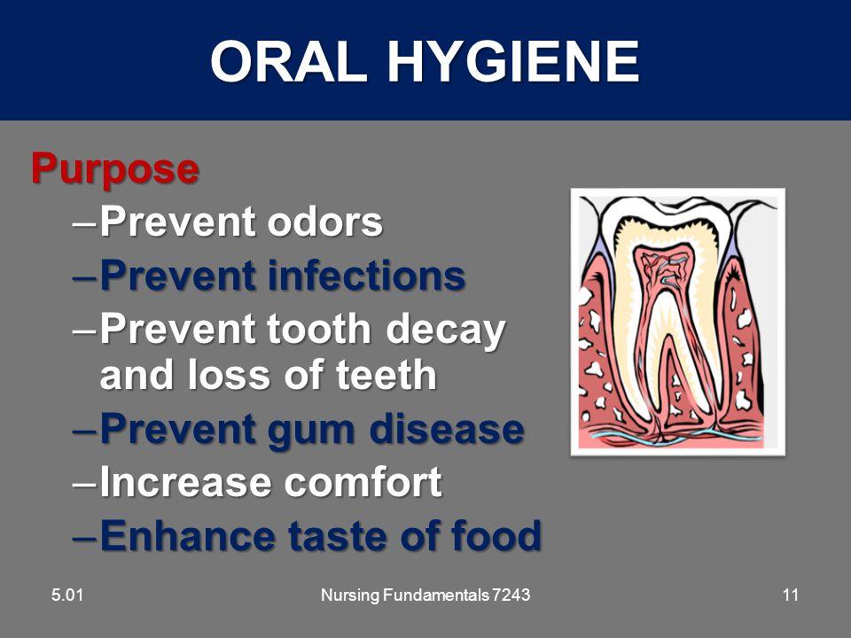 ORAL HYGIENE Purpose Prevent odors Prevent infections