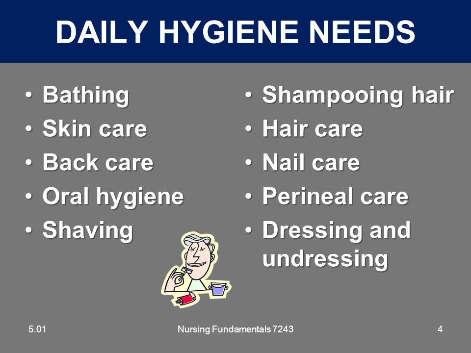 Daily Hygiene Needs Bathing Skin care Back care Oral hygiene Shaving