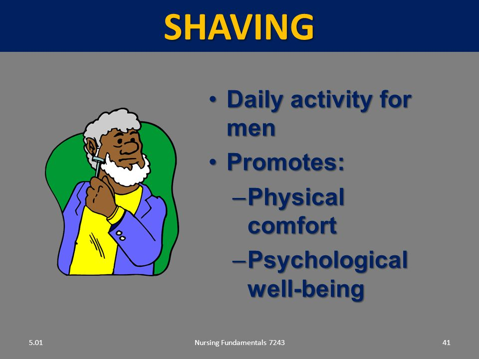 SHAVING Daily activity for men Promotes: Physical comfort