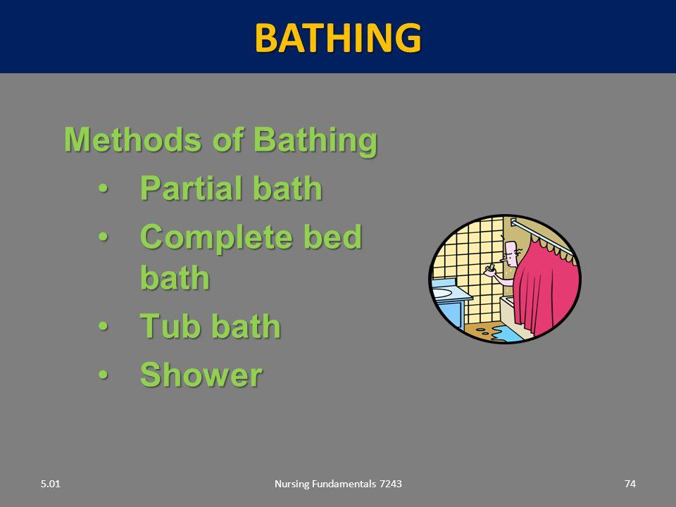 BATHING Methods of Bathing Partial bath Complete bed bath Tub bath