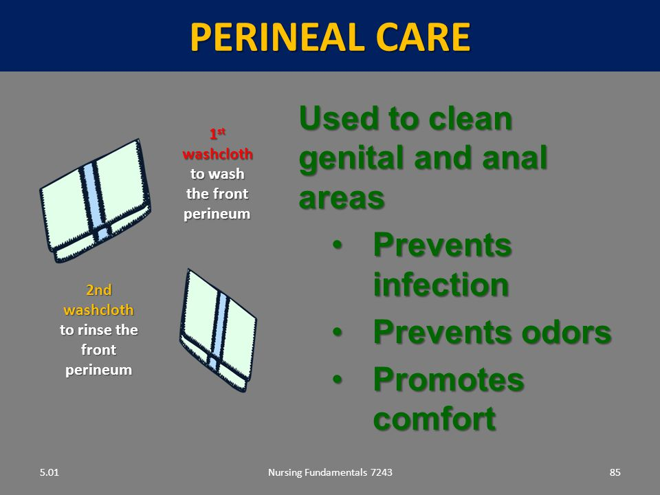 Perineal care Used to clean genital and anal areas Prevents infection