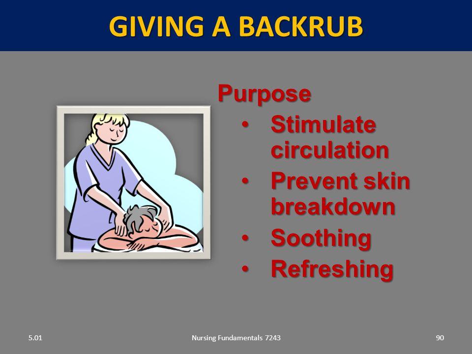 Giving a backrub Purpose Stimulate circulation Prevent skin breakdown