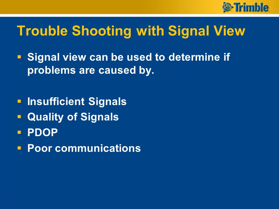 Trouble Shooting with Signal View