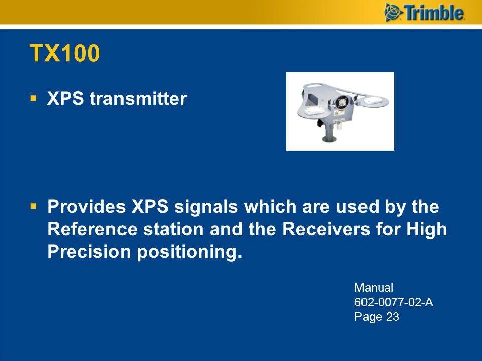 TX100 XPS transmitter. Provides XPS signals which are used by the Reference station and the Receivers for High Precision positioning.