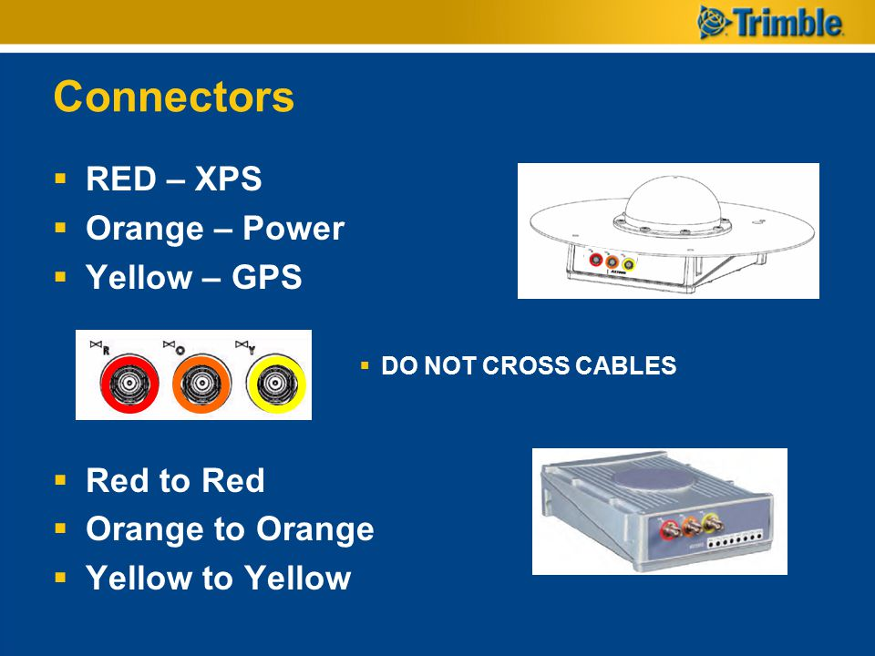 Connectors RED – XPS Orange – Power Yellow – GPS Red to Red