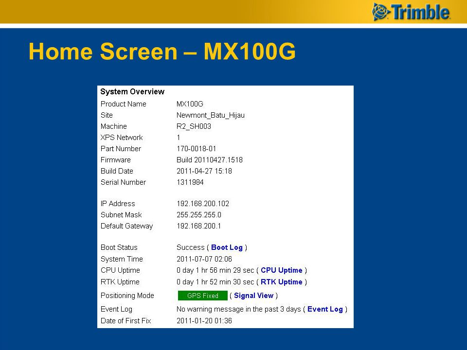 Home Screen – MX100G The Home screen provides a snap shot of some useful information.
