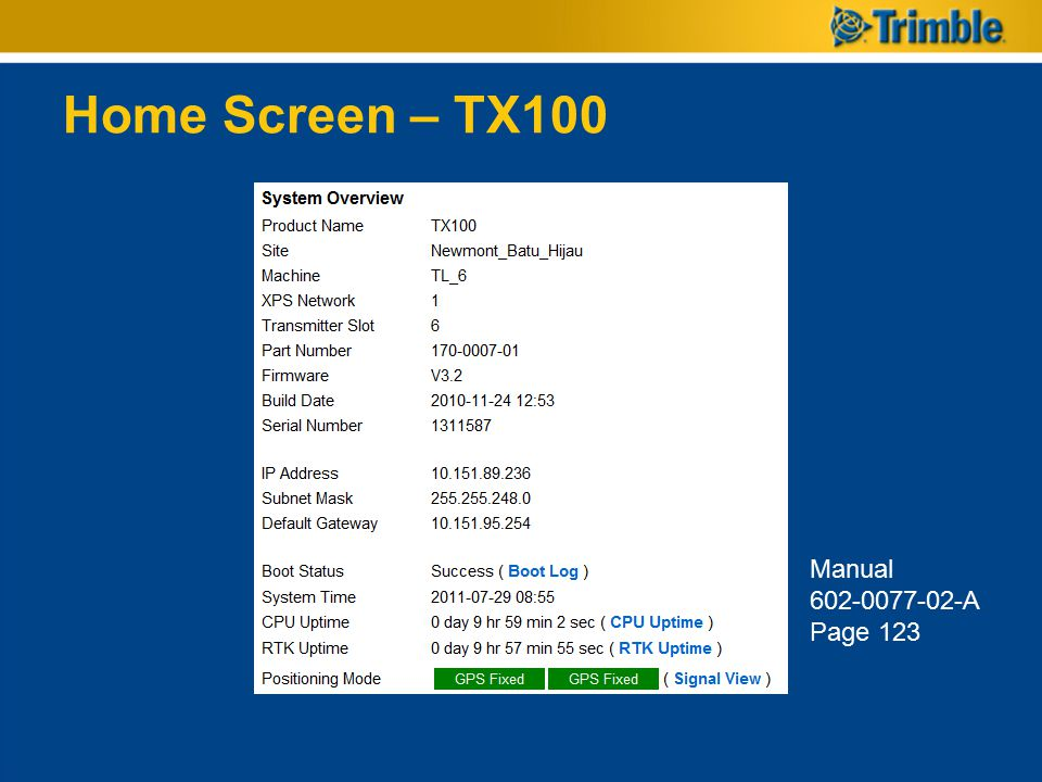 Home Screen – TX100 Manual 602-0077-02-A Page 123
