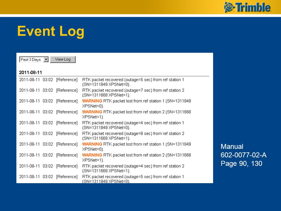 Event Log Manual 602-0077-02-A Page 90, 130