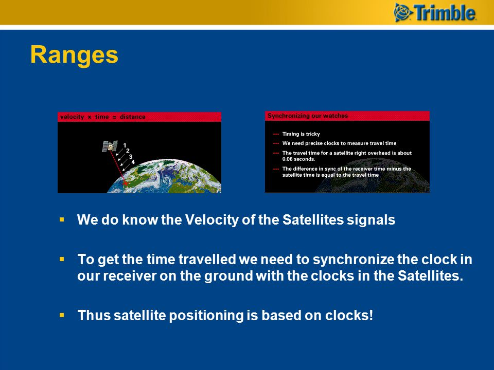 Ranges We do know the Velocity of the Satellites signals