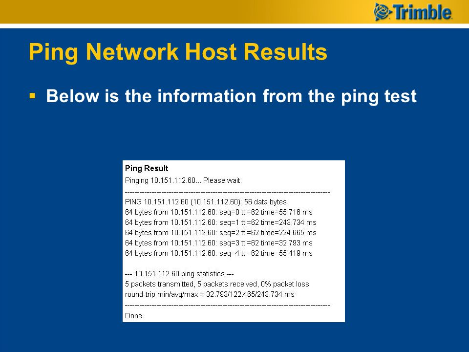 Ping Network Host Results