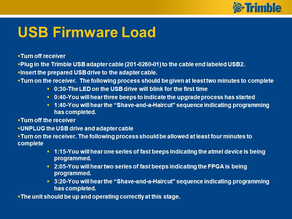 USB Firmware Load Turn off receiver
