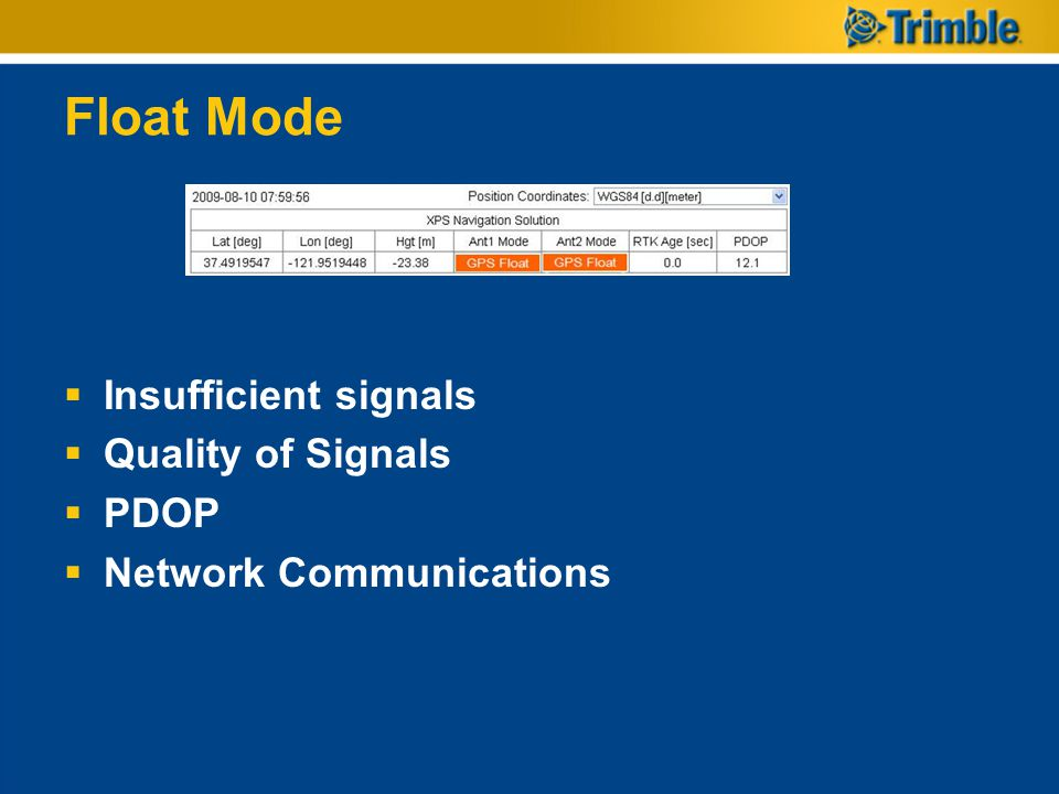 Float Mode Insufficient signals Quality of Signals PDOP