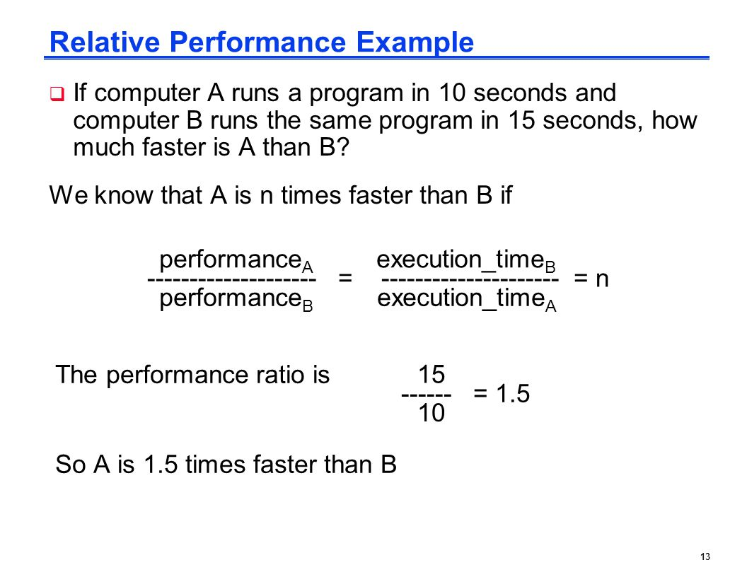 Relative Performance Example